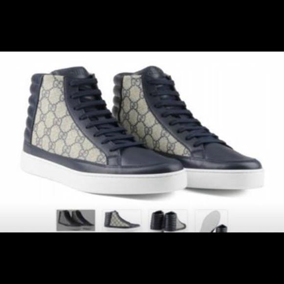 3cfb0ed2e Gucci Shoes | Gg Supreme Sneakers Navycream Sz 9 | Poshmark